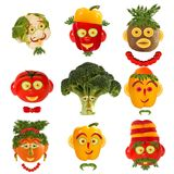 Creative set of food concept. A few  funny portraits from vegeta. Bles and fruits Royalty Free Stock Image