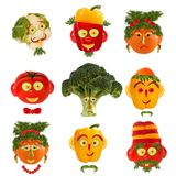 Creative set of food concept. A few  funny portraits from vegeta Royalty Free Stock Photo