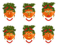 Creative set of food concept. A few  funny portraits from vegeta Stock Photo
