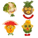 A creative set of food concepts. A few  funny portraits from vegetables and fruits Stock Photo