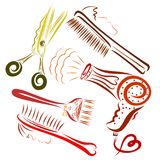 Creative set for a hairdresser, with faces of people and animals royalty free illustration
