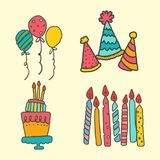 Creative, set of hand drawn doodle cartoon objects and symbols on the birthday party Royalty Free Stock Photos