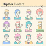 Creative set of hipster avatars. Royalty Free Stock Photography
