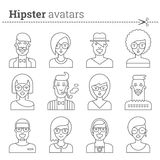 Creative set of hipster avatars Stock Photos