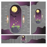 Creative set of medieval window in castle. royalty free illustration
