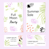 Creative set of promotional brochures and business cards. In art hand-drawn style. Design concept for sales and parties Stock Photos