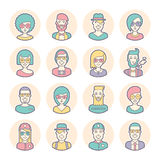 Creative set of round avatars. Thin lines. Vector. Stock Images