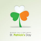Creative shamrock leaf for St. Patricks Day celebration. Happy St. Patricks Day celebration with creative shamrock leaf in Irish Flag colors Royalty Free Stock Image