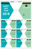 New year 2018 calendar template design. Creative  shape new year calendar 2018 template design Royalty Free Stock Image