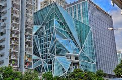 Creative shaped buildings in Shenzhen With green trees and blue sky background royalty free stock image
