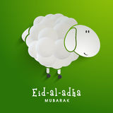 Creative sheep for Eid-Al-Adha celebration. Creative sheep on shiny green background for Islamic Festival of Sacrifice, Eid-Al-Adha celebration Stock Photo
