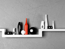 Creative shelf with the vases Royalty Free Stock Photography
