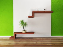 Creative shelf on the wall and a palm. Rendering Royalty Free Stock Image