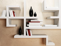 Creative shelves on the wall,. Rendering Stock Photography