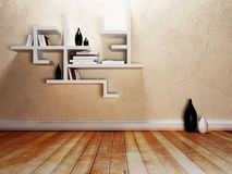 Creative shelves on the wall,. Rendering Stock Images