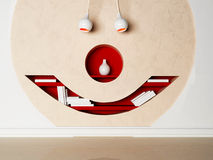 Creative shelves on the wall. In the shape of the face Stock Images
