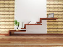 Creative shelves on the wall,. Creative shelf on the wall and a palm, rendering Royalty Free Stock Photo