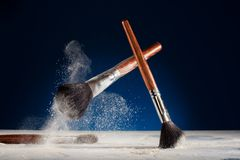 Creative shoot of makeup brushes Royalty Free Stock Photography