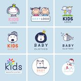 Creative signs, symbols and logo set, Brand identity for baby, kids, and child. Royalty Free Stock Photography
