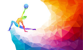 Creative silhouette of gymnastic girl. Art Stock Image