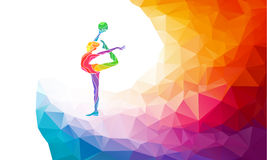 Creative silhouette of gymnastic girl. Art. Gymnastics with ball, colorful vector illustration with background or banner template in trendy abstract colorful Stock Image