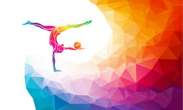 Creative silhouette of gymnastic girl. Art gymnastics with ball. Colorful vector illustration with background or banner template in trendy abstract colorful Royalty Free Stock Photos
