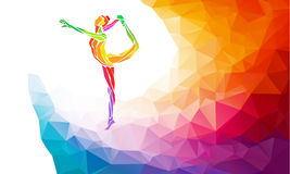 Creative silhouette of gymnastic girl on Royalty Free Stock Photos