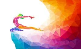 Creative silhouette of gymnastic girl on Stock Photo