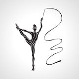 Creative silhouette of gymnastic girl. Art Stock Photos