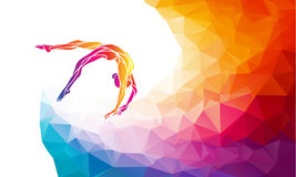 Creative silhouette of gymnastic girl. Art gymnastics vector. Creative silhouette of gymnastic girl. Art gymnastics, colorful vector illustration with background Stock Photo