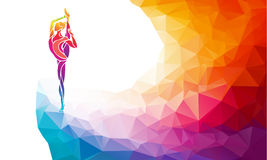 Creative silhouette of gymnastic girl. Art gymnastics vector. Creative silhouette of gymnastic girl. Art gymnastics, colorful vector illustration with background Royalty Free Stock Photos