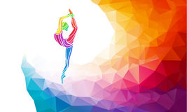 Creative silhouette of gymnastic girl. Fitness royalty free illustration