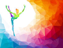 Creative silhouette of gymnastic girl. Fitness Stock Photos