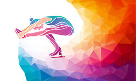 Creative silhouette of ice skating girl on multicolor back Stock Photos