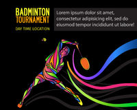 Creative silhouette of a Professional Badminton Player Stock Images