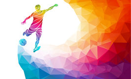 Creative silhouette of soccer player. Football player kicks the ball in trendy abstract colorful polygon rainbow back Royalty Free Stock Image