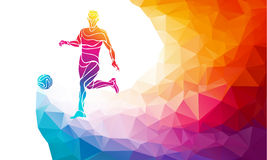 Creative silhouette of soccer player. Football player kicks the ball in trendy abstract colorful polygon style with rainbow back Royalty Free Stock Photography