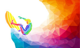 Creative silhouette of surfer. Fitness vector Royalty Free Stock Photos