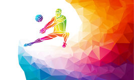 Creative silhouette of volleyball player. Team sport vector illustration or banner template in trendy abstract colorful Royalty Free Stock Images