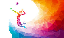 Creative silhouette of volleyball player. Team sport vector illustration or banner template in trendy abstract colorful Stock Photography