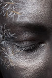 Creative silver make-up. Close-up of creative silver make-up royalty free stock images