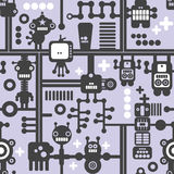 Creative simple background with small robots. Vector seamless pattern Stock Images