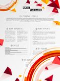 Creative simple cv template with colorful triangle shapes. Stock Images