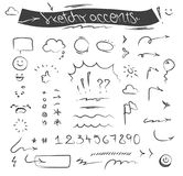Creative sketchy accents and symbols vector set. With arrows, bubbles, underlines, emoji, number set etc Royalty Free Stock Photos