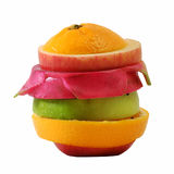 Creative slide compose summer fruit mixed with. White isolated background stock image