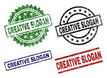 Grunge Textured CREATIVE SLOGAN Seal Stamps. CREATIVE SLOGAN seal prints with distress style. Black, green,red,blue vector rubber prints of CREATIVE SLOGAN stock illustration