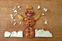 Creative snack snowman Stock Photography
