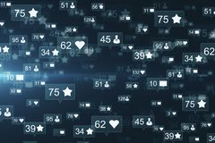 Creative social media backdrop. Creative social media network backdrop with communication icons. Likes, shares and feedback concept. 3D Rendering vector illustration