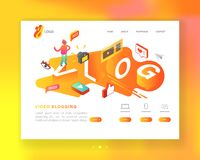 Free Creative Social Media Isometric Concept Landing Page Template. Video Blogging Content Marketing With Man Vlogger Stock Photography - 130874252