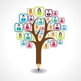 Creative social people tree design concept. Vector royalty free illustration